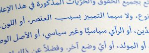 Photo of UDHR article 2 set in Nassim